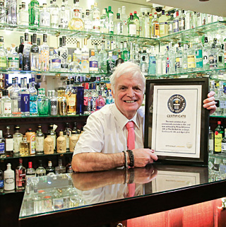 Philip Whiteman, proprietor of The Old Bell Inn & Gin - Official Guinness World Record holder for the largest number of gins commercially available.