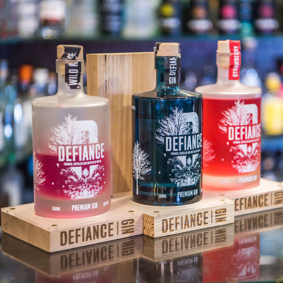 Defiance Gin at The Old Bell Inn 'Gin Emporium' located in Delph, Saddleworth